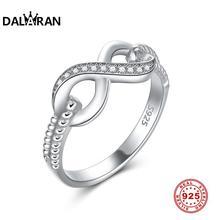 DALARAN ファッションクリスタルインフィニティ愛結婚指輪 100% 925 スターリングシルバーの指輪ファインシルバー 925 ジュエリー