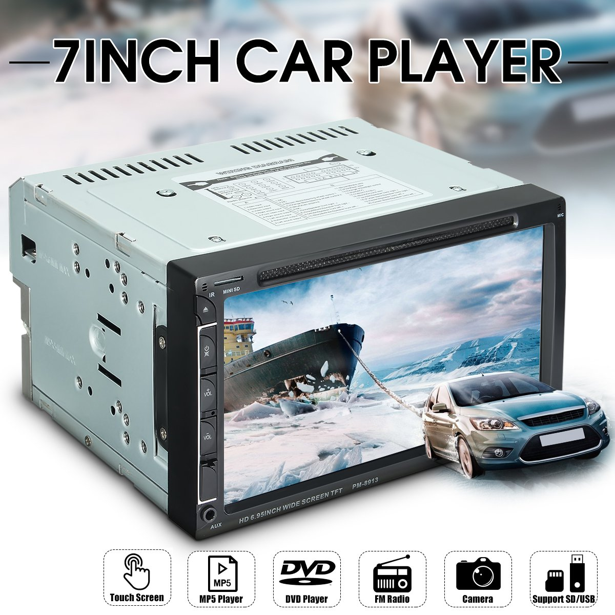 7'' Double 2Din HD Car Radio MP3 Bluetooth Touch Screen Car Radio CD DVD Stereo Player + Rearview Camera Remote Control f6063b 7 inch hd touch screen 2din car in dash fm radio receiver bluetooth dvd cd player with wireless remote control
