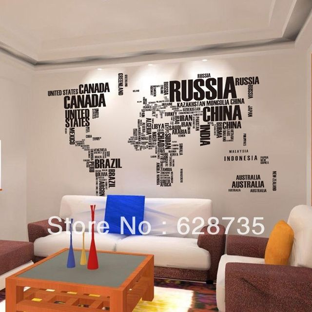 Free shipping New Design/XXL190*116 cm/Wall Sticker Map of the World for Learning Study/Art words sayings Vinyl Wall Decals