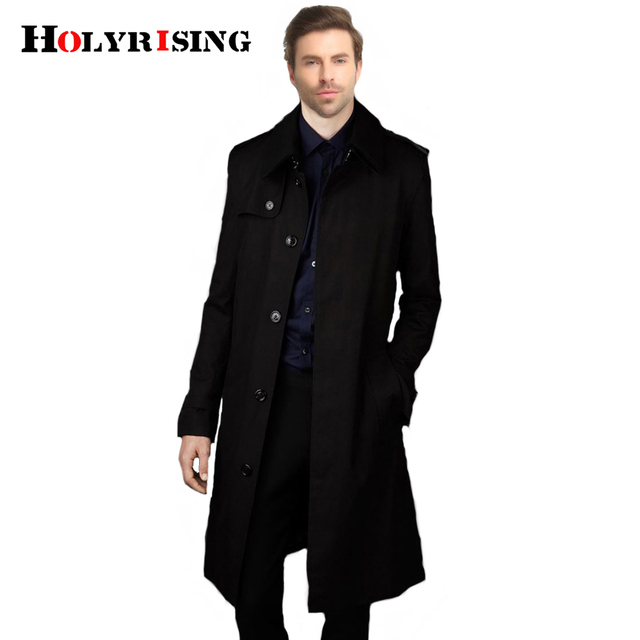 Holyrising Trench Coat Men Casual Masculino Overcoat Slim Long Greatcoat Single Button Windbreak Comfortable Size S-9XL 18360-5