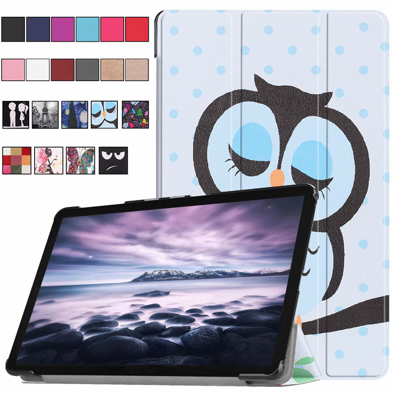 Tab A 10.5 SM T595 T590 Slim PU Leather Cover Smart Wake Skin Stand For Samsung Galaxy Tab A 10.5 2018 T590 T595 T597 Print Case 2014 for samsung galaxy note 8 0 n5100 n5110 book cover ultra slim thin business smart pu leather stand folding case