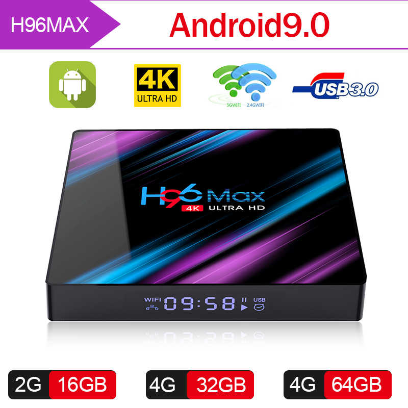 H96 MAX Android 9,0 Caixa de tv Rockchip RK3318 2G 4G 16 GB GB GB 4 64 32 K caixa de tv inteligente 2,4 & 5,0G WiFi Bluetooth 4,0 Android IP tv