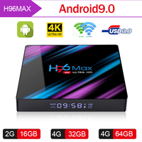 H96 MAX Android tv Box 9,0 Rockchip RK3318 2G 4G 16 GB 32 GB 64 GB 4 K Smart tv Box 2,4 & 5,0G WiFi Bluetooth 4,0 IP tv Android