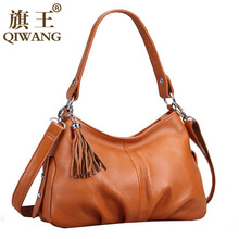 QIWANG Marke Mode Frau Tasche Kleine Schultertasche Geraffte Luxus Leder Hobo Kleine Handtasche Lange Lock Strap Crossbody Quaste Tasche