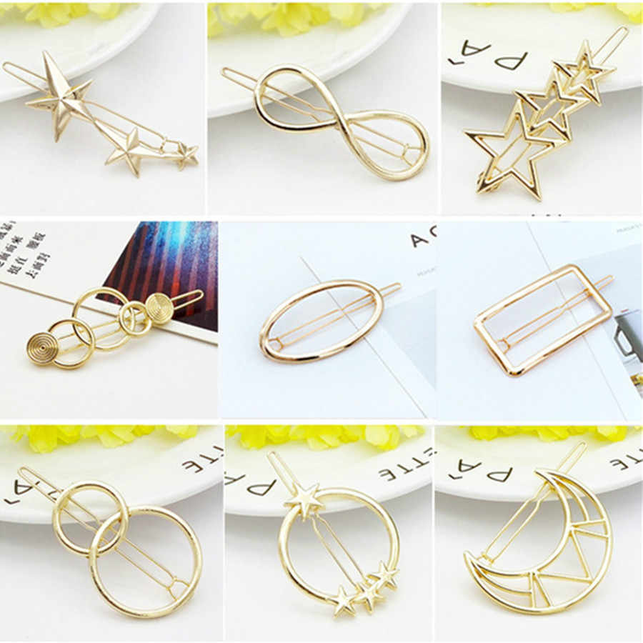 1 Pcs Metal Stars Moon Fashion Hair Clip for Women Elegant Korean Design Snap Barrette Stick Hairpin Hair Styling Accessories