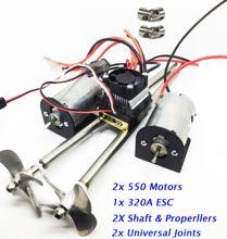 Free Shipping RC Boat Spare Parts Double 550 Motors+Universal Joints+ 320A ESC+ Metal Shaft + Metal Properller Assembly Set