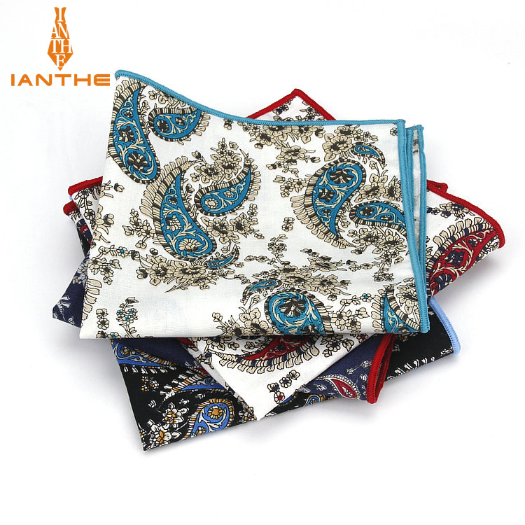 Paisley Printed Handkerchief Wedding Hanky For Mens Suit Pocket Square Casual Business Tie Set Handkerchiefs 25*25 Cm Towel