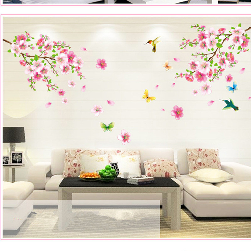 Pvc self adhesive peach blossom wall sticker for living room tv wall sofa wall hallway pink flower decoration sticker in wall stickers from home garden on