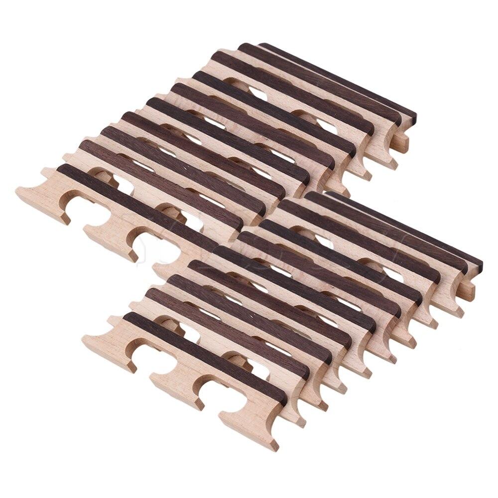 Yibuy 4 String Guitar Bridge Maple for Ukulele Banjo Wood Color Set of 20