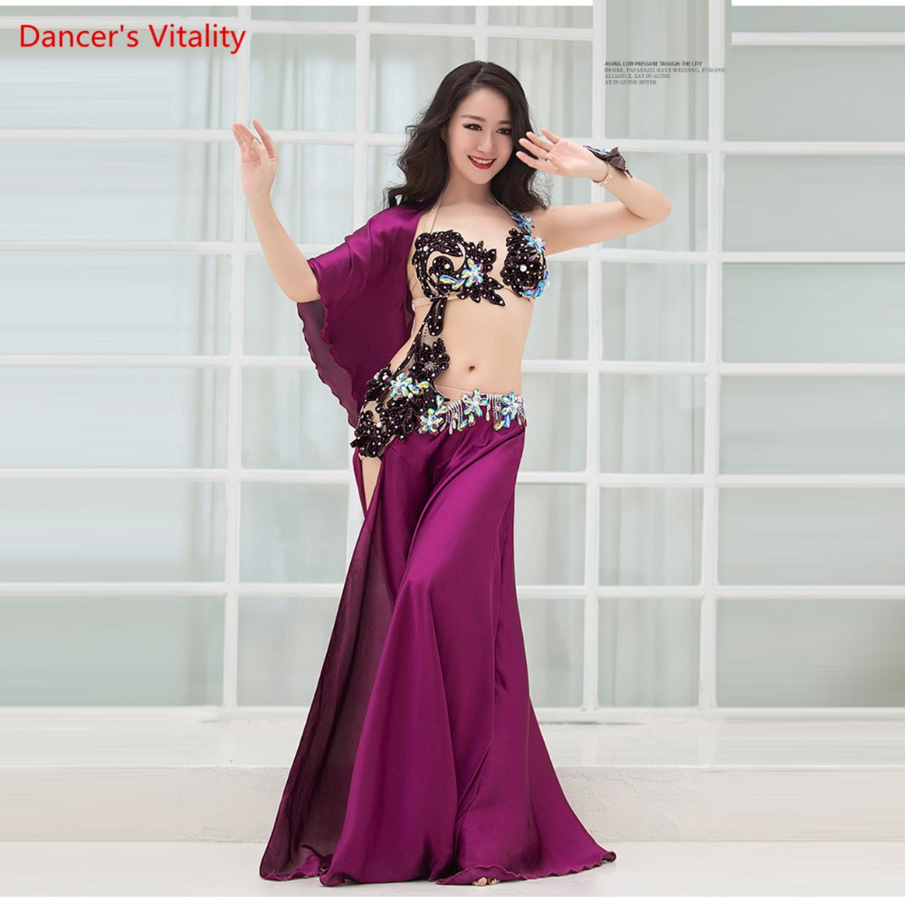 Women Spandex And Silk Satin Belly Dance Costume Belly Dance Set Professional Belly Dance Girls Bra+Skirt 2pcs