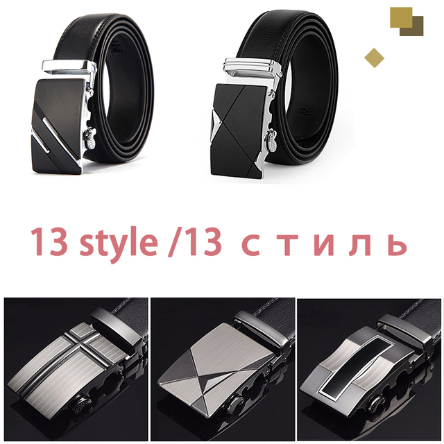 Genuine Leather Strap Top Quality Automatic Buckle black Belts 3