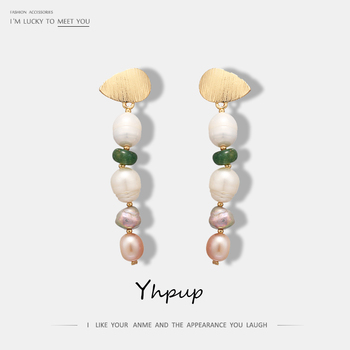 Yhpup Classic Elegant Natural Pearl Long Dangle Earrings Green Stone Earrings For Women Party Wedding Statement Fashion Jewelry earrings