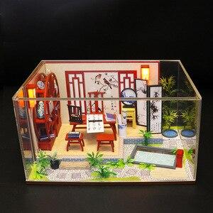 Миниатюрный Кукольный домик в китайском стиле, деревянная модель пазла, комплекты мебели, набор кукольных домиков для самостоятельной сбор...