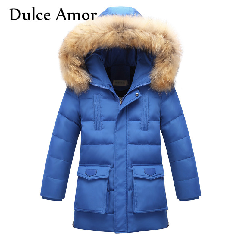 Dulce Amor Kid Duck Down Jacket Coat High Quality Winter Warm Thicken Fur Collar Hooded Children Parkas Outerwear Fit For 6-12T cacharel туалетная вода женская amor amor l eau 50 мл os
