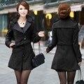 Мода женщин свободного покроя твердые полушерстяные длинное пальто плащ пиджаки с поясом 2016 S-XL черный
