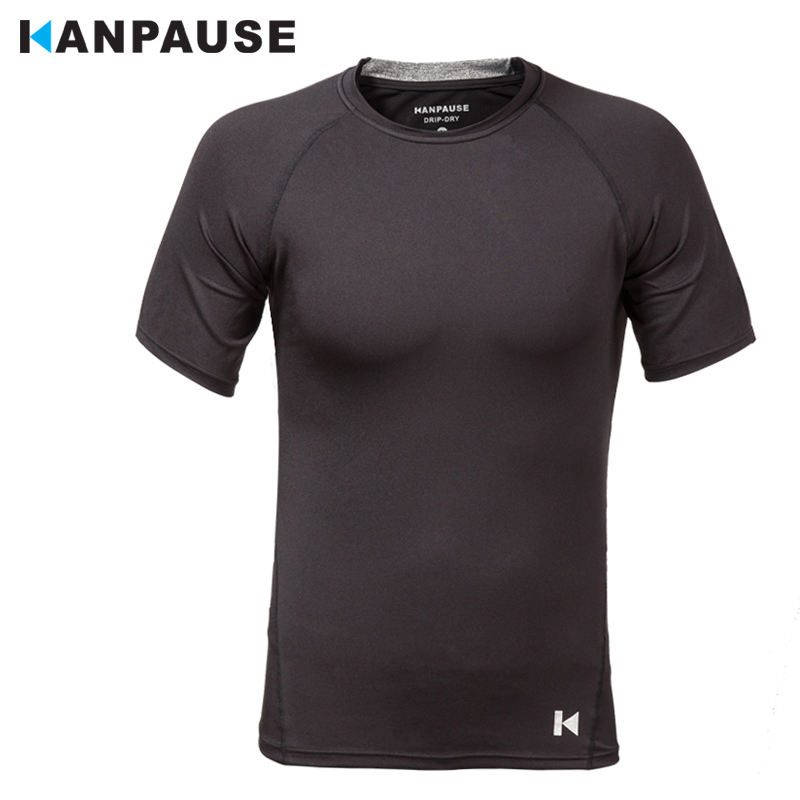 New Arrival KANPAUSE Men's Tights  T-shirts Short Sleeve Training T-shirt Fitness Sportswear