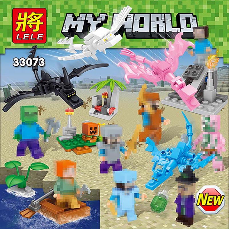Compatible LegoINGLYS Minecrafter Blocks Toys Childrens Early Education My World Series For Kids Xmas Gift 8 Pieces/ lot