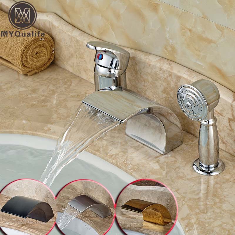 Фото Chrome Curved Waterfall Spout 3 pc Bathtub Faucet Set Single Handle Widespread with hand Shower Deck Mounted 5-colors for Choice