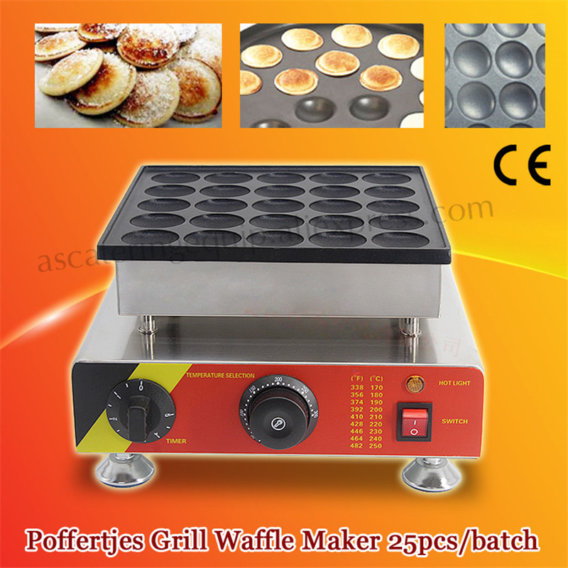 Electric 25pcs Poffertjes Mini Dutch Pancake Machine Maker Poffertjes Waffle Baker Iron Grill Nonstick Pan double pans small pancake machine poffertjes machine with non stick pan poffertjes grill waffle maker with 50 pcs moulds