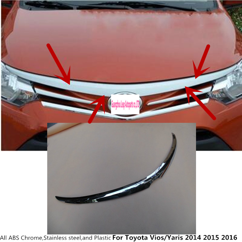 For Toyota Vios/Yaris/sedan 2014 2015 2016 garnish cover ABS chrome panel front engine Machine grille hood stick lid trim lamp chrome front grille for honda civic 2017 car front grille cover trim abs chrome accessories for honda civic 2016 chrome grilles