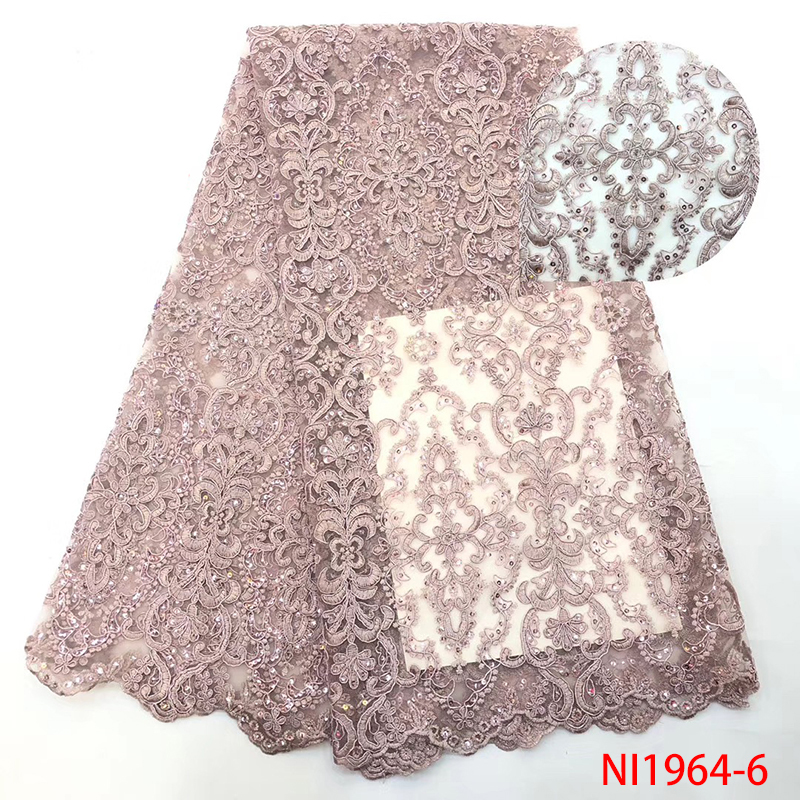 Newest Latest Nigerian Sequins Laces Fabrics  High Quality French Tulle Mesh Lace Nigerian Embroidered Laces KSNI1964-6