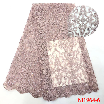 Newest Latest Nigerian Sequins Laces Fabrics High Quality French Tulle Mesh Lace Nigerian Embroidered Laces KSNI1964-6 фото