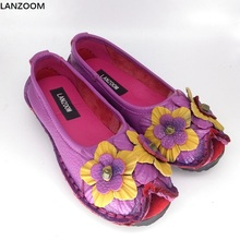 LANZOOM Lady nationwide Style Handmade Shoes Women's Floral Soft Bottom flat Shoes platform Casual Women Genuine Leather flats