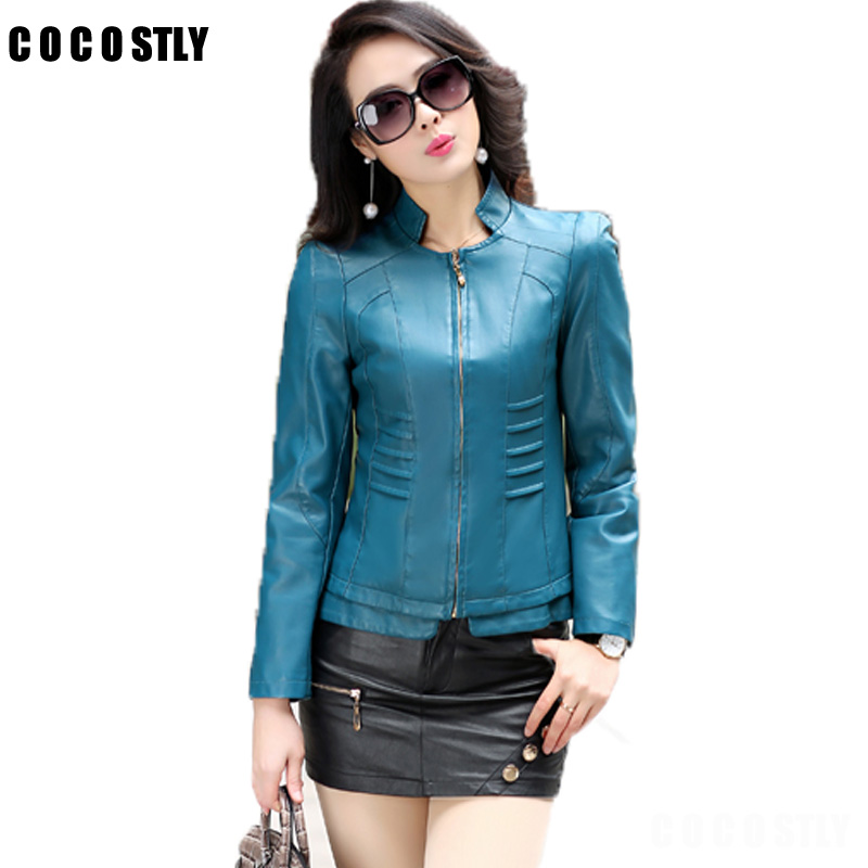 Autumn Leather Jacket Womens Outerwear Jacket And Coat Ladies Leather Clothing Female Mo ...