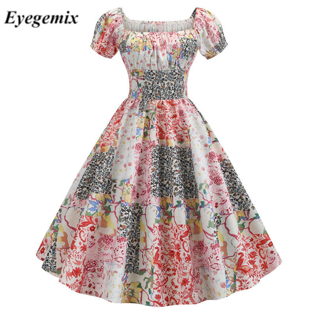 Summer 2019 Sexy Floral Midi Dress Short Sleeve Casual Women Beach Ruffle Dress Evening Party Dresses Vestidos De Fiesta