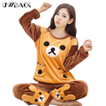 Uwback pajama define mulheres nova marca outono/inverno quente pijamas das mulheres dos desenhos animados/rosa/natal sleepwear inverno mujer tb1249