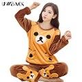 Uwback pijama mujeres nuevo marca otoño/invierno cálido mujeres de los pijamas de dibujos animados/color de rosa/de navidad ropa de dormir de invierno mujer tb1249