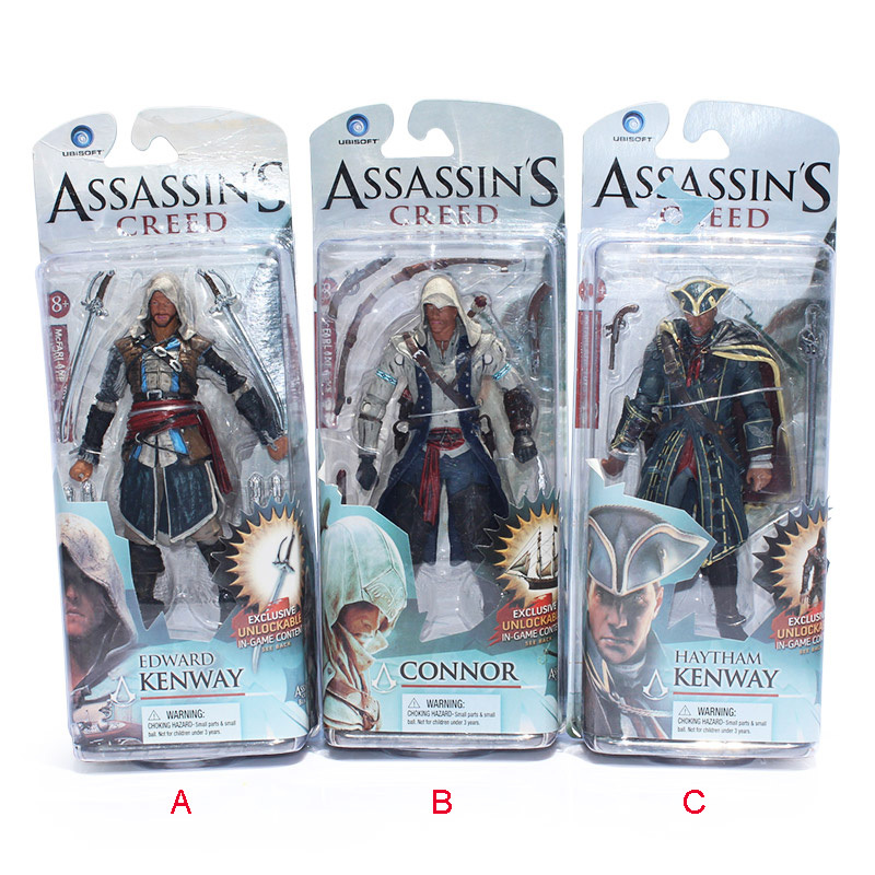 3pcs/lot 615cm Neca Toys Assassin's Creed 4 Black Flag PVC Action Figures Toys Edward Kenway Etc Collection Model Free Shipping animation assassins creed necklace set black flag rings necklace boxed figures toys