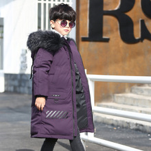 HSSCZL boys duck down jackets 2019 kids big boy winter thicken hooded natural fur coat outerwear overcoat jacket clothing 7-16Y