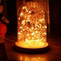 Romantic USB LED Night Light Fireworks Stars Lamp Clear Glass Cover Table Night Light Wood Base