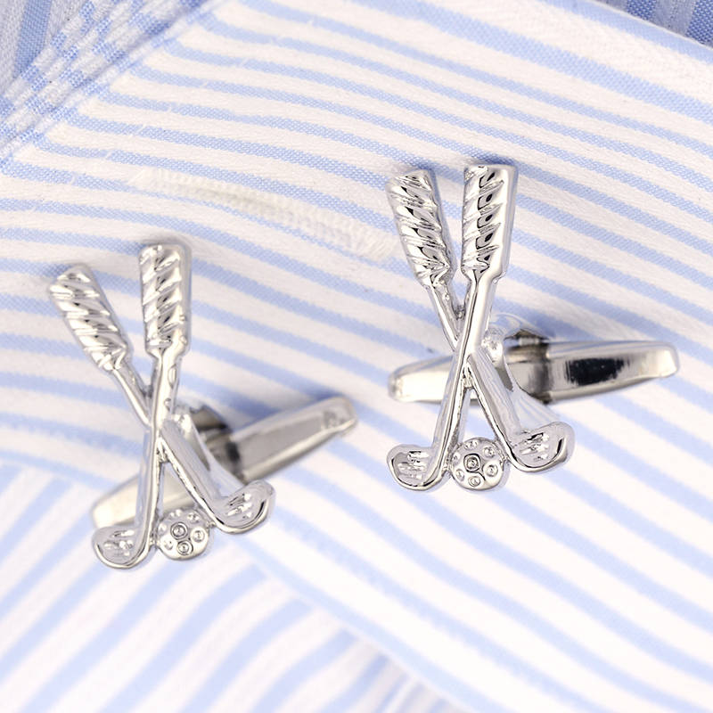 Hot Sale Silver Cufflinks Fathers day Gifts Shirt Golf Club Cuff link French Cufflings Button 209