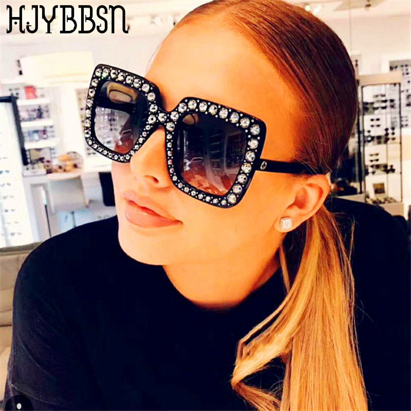 HJYBBSN Square Rhinestone Sunglasses Woman Diamond Oversized Sunglasses Fashion Flash Bling Sun Glasses Shades For Women UV400