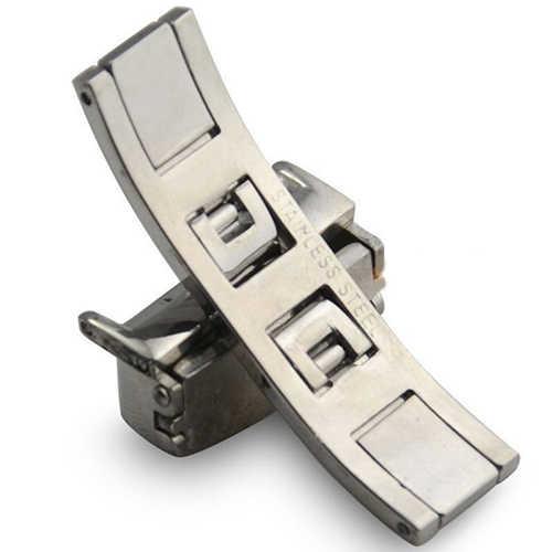 Automatico Doppio Click Farfalla Fibbia Orologio Pulsante Fold Chiusura di Distribuzione Argento Cinturino Cinturino 16/18/20mm