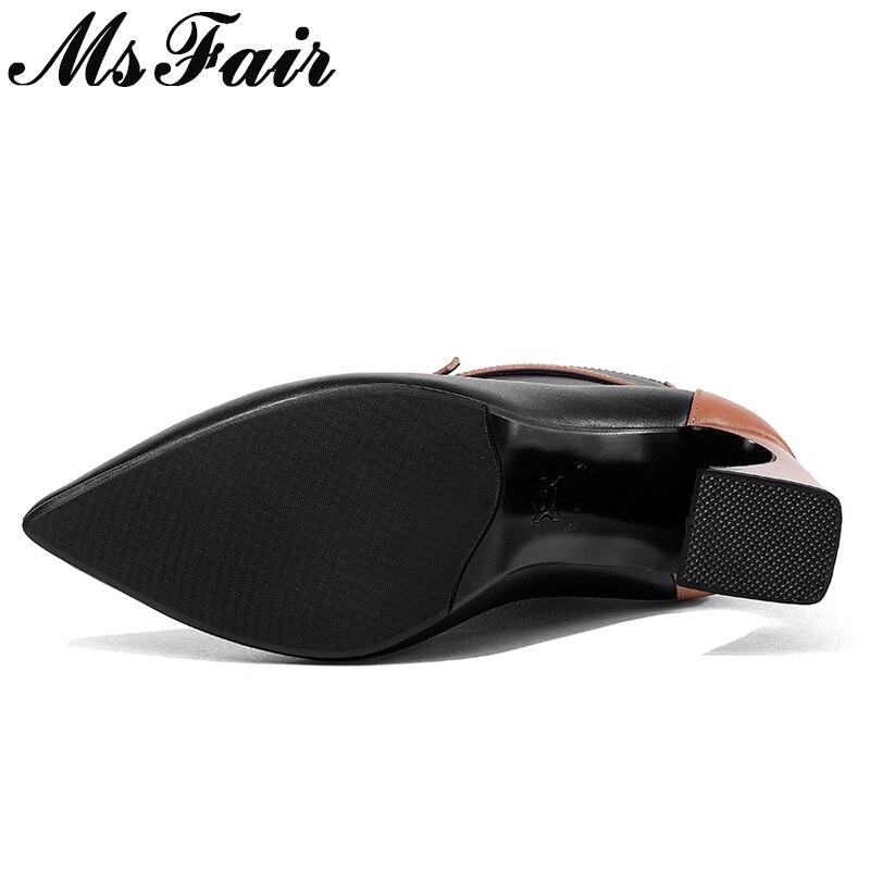 Hebilla Msfair Negro Elegante Zapatos Mujer Genuino negro Mujeres Beige Cuero De Punta Cuadrado Cremallera Las Tacón Botas fgwvrqfO