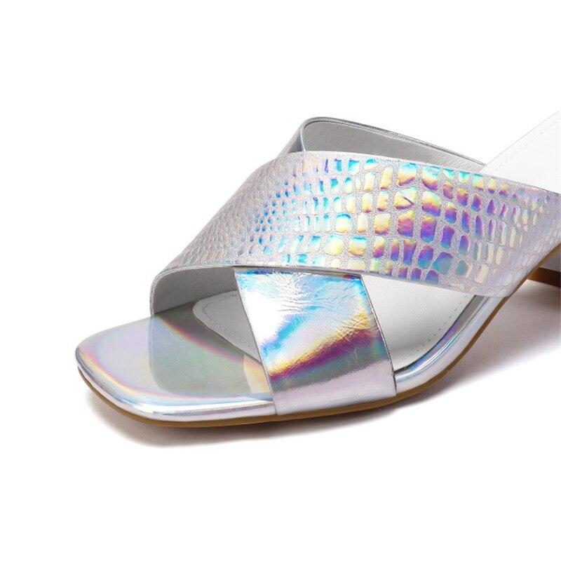 Verano Tacón 34 Las Diapositivas Imitación 42 Zapatillas 2019 Vestido Plus Plata Mujeres Al Libre Cuero Zapatos Diamantes Pxelena De Noche Tamaño Cali Alto Aire vEUZw