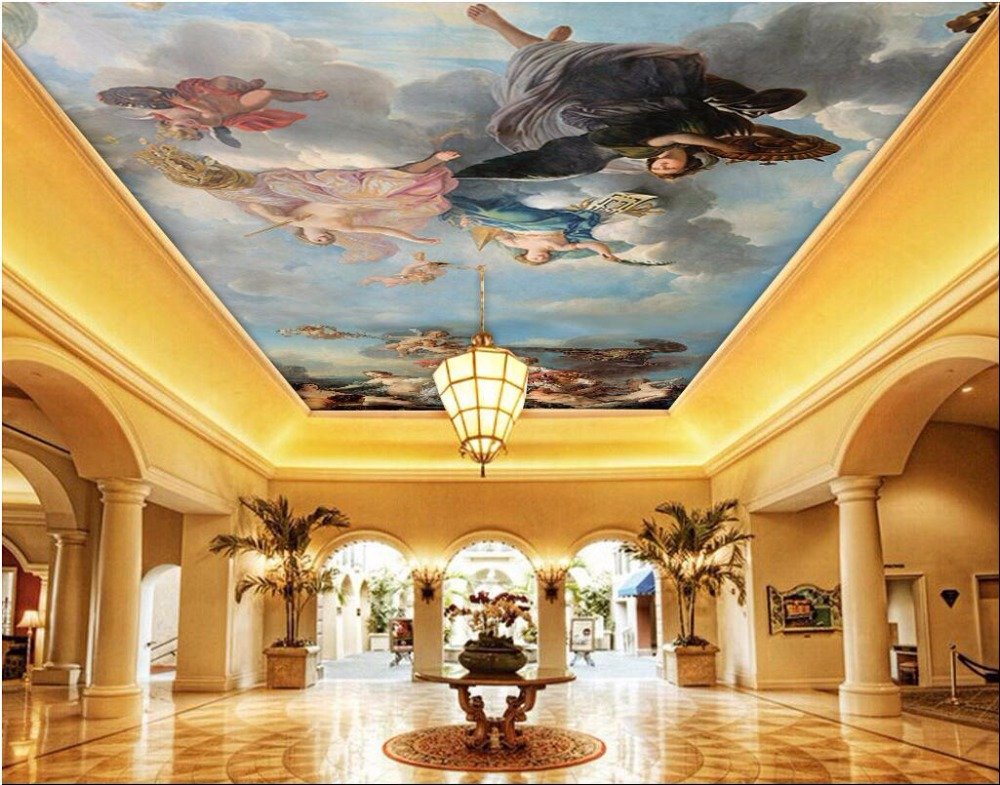 Custom photo 3d ceiling murals wall paper picture Hd sky figures decoration painting 3d wall murals wallpaper for walls 3 d custom photo 3d wall murals wallpaper mountain waterfalls water decor painting picture wallpapers for walls 3 d living room