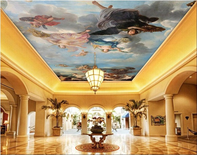Custom photo 3d ceiling murals wall paper picture Hd sky figures ...
