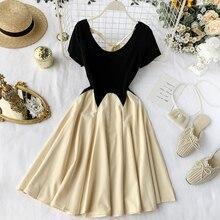 Новые модные женские платья Популярные французские платья женские летние с коротким рукавом нестандартные