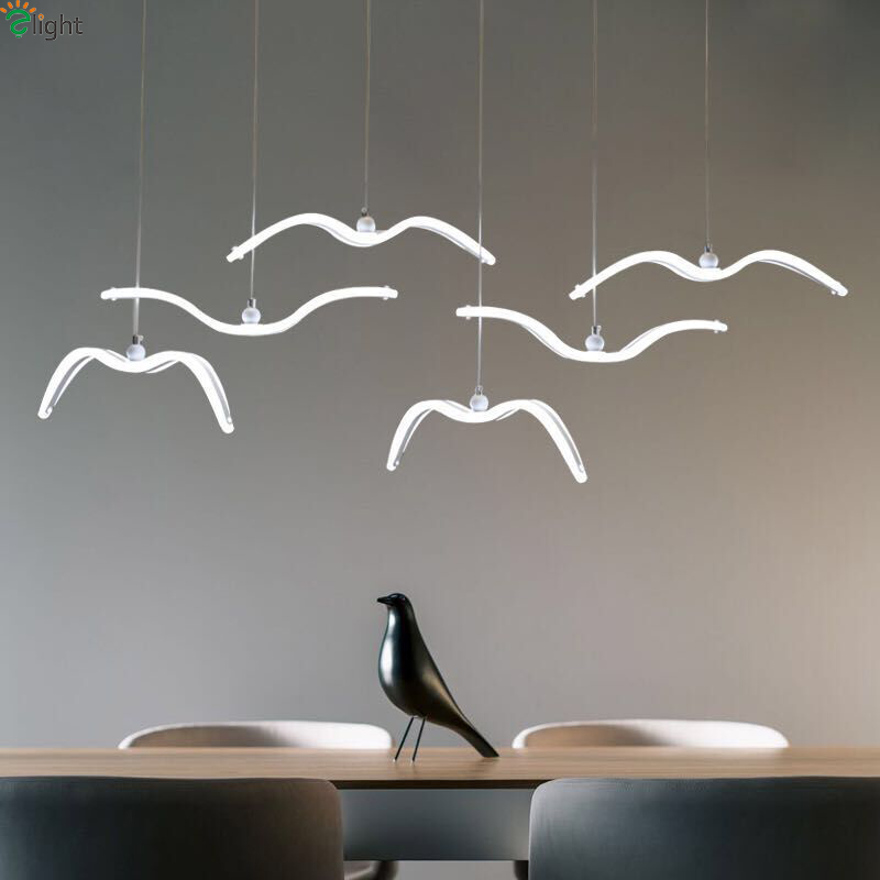 Modern Acrylic Seagull Led Pendant Lights Dining Room Dimmable Led Pendant Light Bedroom Led Pendant Lamp Hanging Light Fixtures