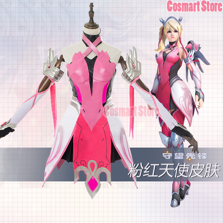 [Mid-July]Game OW D.VA Angel Mercy Halloween Pink Uniform Dress Cosplay costumes for women NEW free ship