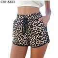 Las mujeres Del Verano 2017 Casual Leopard Impreso Pantalones Cortos Más El Tamaño S-XL de Las Mujeres Pantalones Cortos Casuales