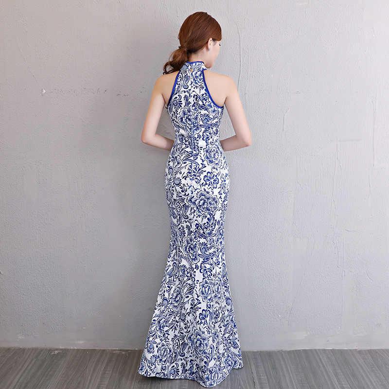 Белые, синие современные китайские свадебные платья традиционное Ципао Cheongsam дизайнерское вечернее платье с принтом рыбы Vestido Восточное Qi Pao
