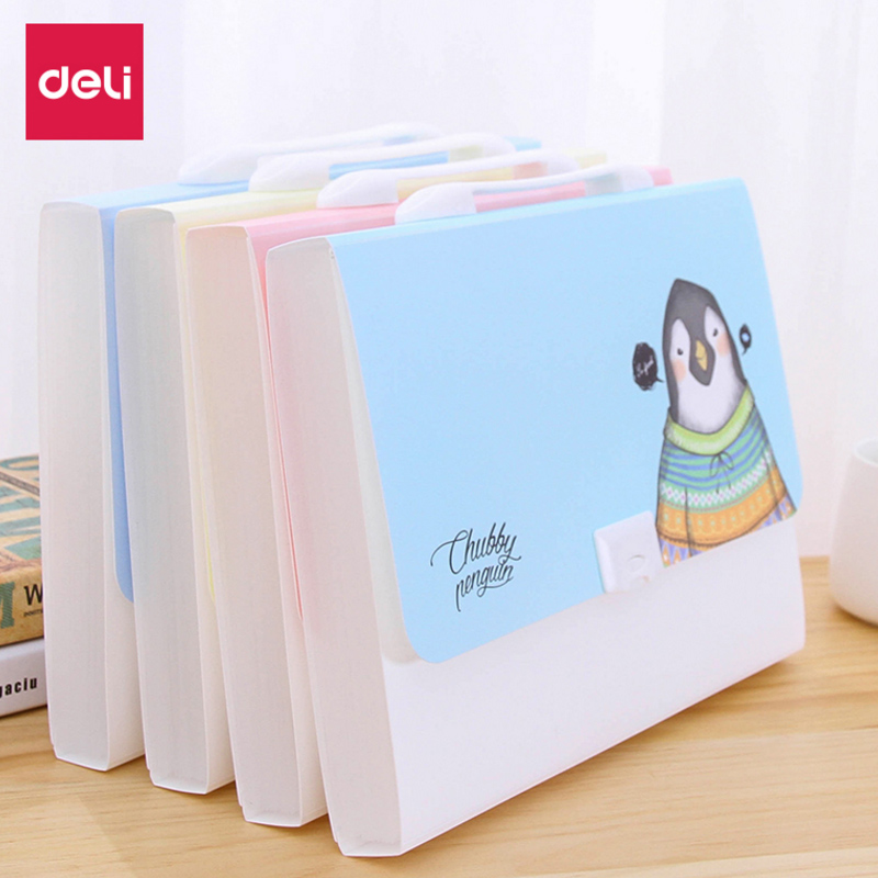 13 Interlayer A4 Plastic Candy Color Document Bag File Folder Expanding Wallet Bill Folder 330mm X 255mm X 35mm Deli 72386_02