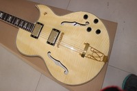 All Real Pictures Hollow Body Jazz Electric Guitar Maple Natural Color Flame Back