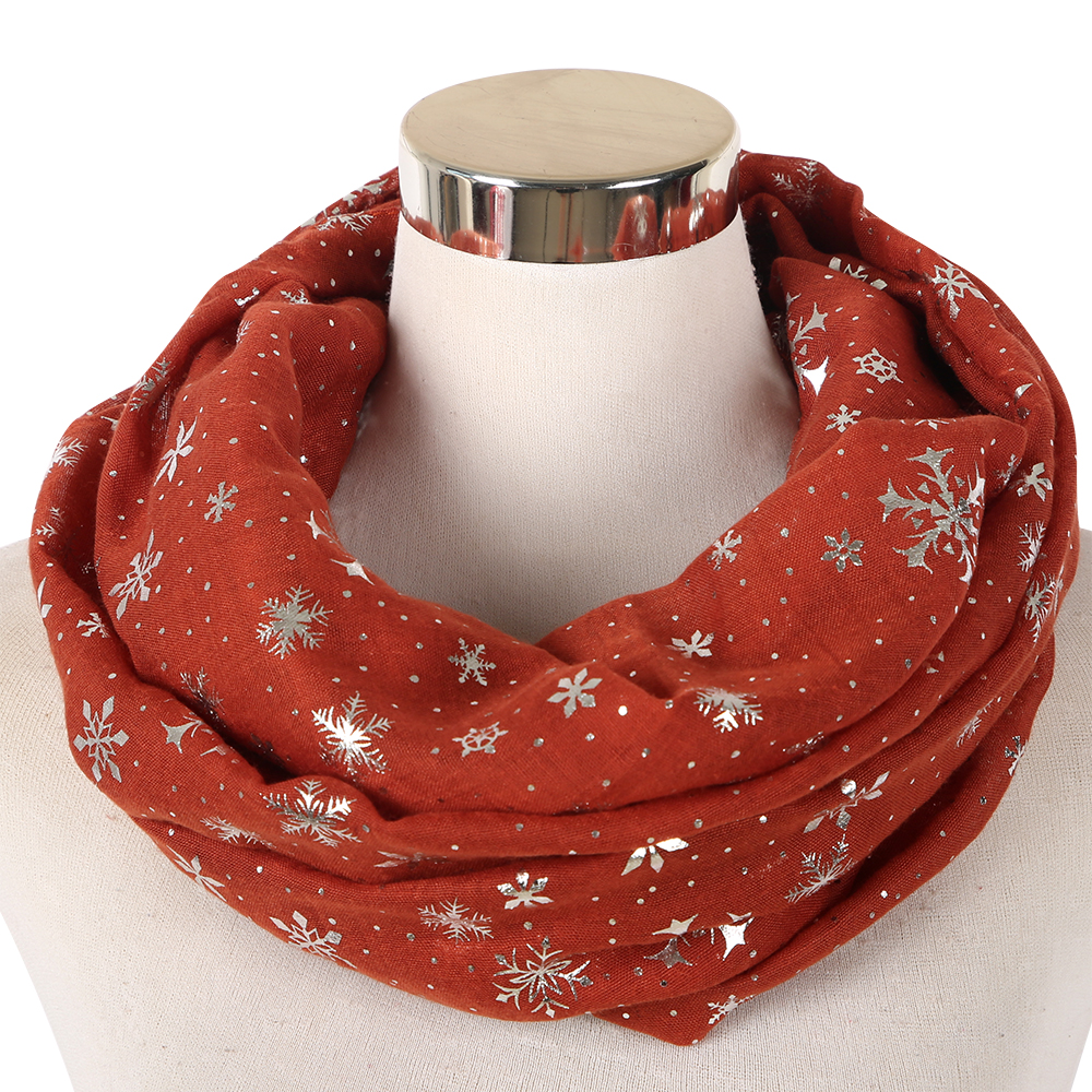 621d48c585ad FOXMOTHER New Fashion Winter Burgundy Caramel Snowflake Scarf Snood Hijab Evening  Wrap Bufanda Scarves Ladies-in Women's Scarves from Apparel Accessories on  ...