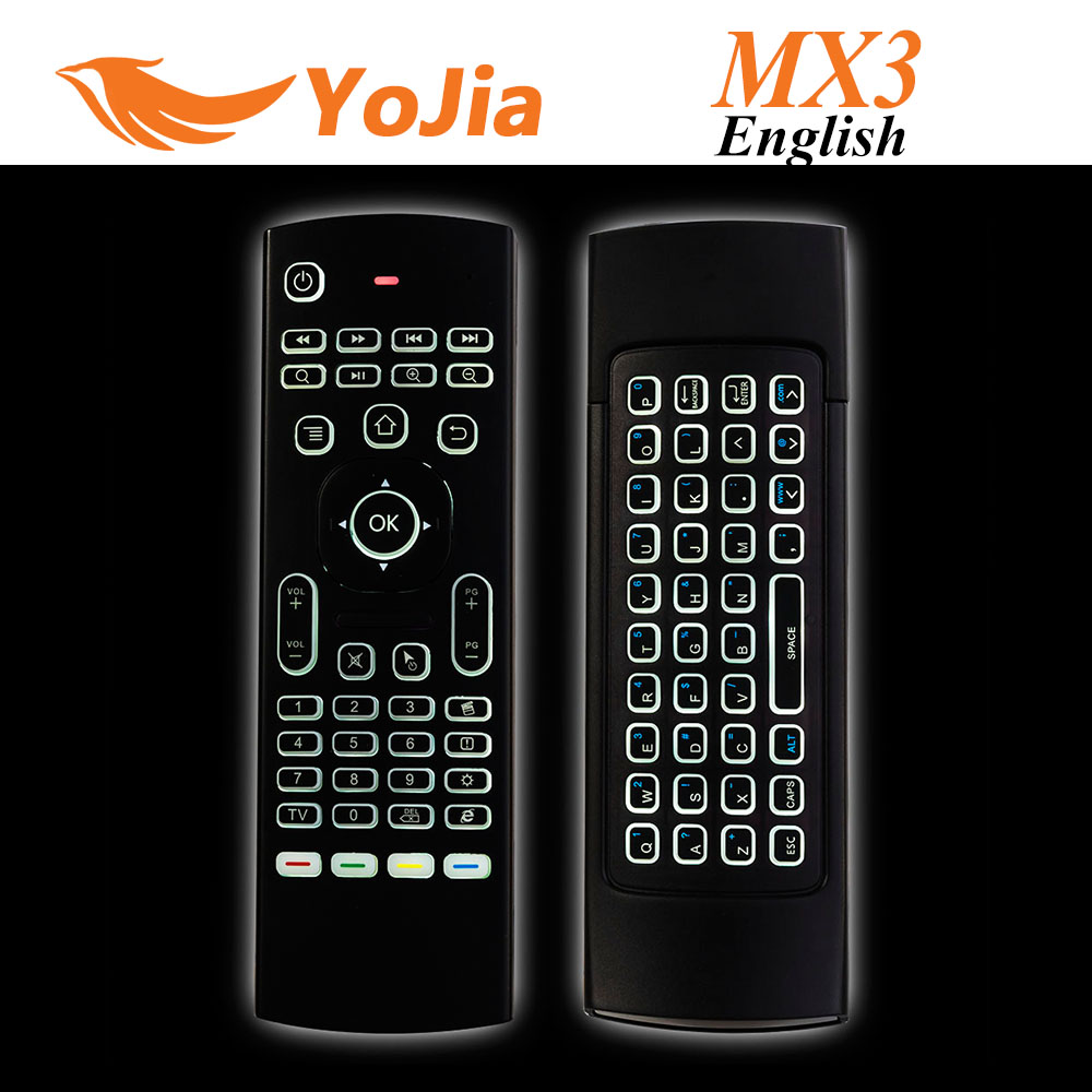 MX3 Backlight Wireless Keyboard 2.4G Remote Control IR Learning Fly Air Mouse Backlit For Android TV Box PC